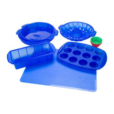 classic cuisine 18 piece silicone bakeware set blue bakeware sets - Bakeware Sets
