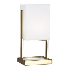 Nikole Accent Lamp, Modern Brass and White Marble