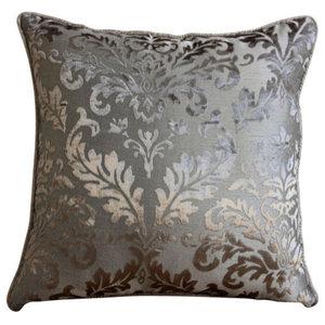 Damask Gray Pillow Shams, Burnout Velvet 60x60 Pillow Shams, Gray Silver Damask
