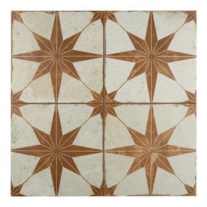 """17.63""""x17.63"""" Royals Estrella Ceramic Floor and Wall Tile, Set of 5, Oxide"""