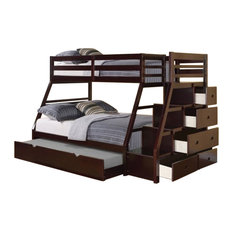 Pemberly Row - Pemberly Row Twin over Full Storage Bunk Bed With Trundle, Espresso - Bunk Beds