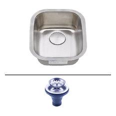 "12""x18""x8"" KSN-1218 Undermount Stainless Steel Single Bowl Bar Sink w Strainer"