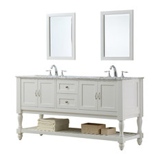 """Mission Turnleg 70"""" White Double Vanity, Top: Carrara Marble, With Mirror"""