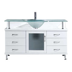 "Vincente 55"" Single Bathroom Vanity Cabinet, White"