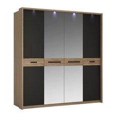 4-Door Wardrobe With Mirror Doors, Stirling Oak