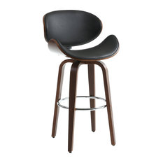 Bachelor Faux Leather Bar Stool, Black