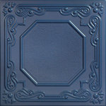 """Decorative Ceiling Tiles - 20""""x20"""" Topkapi Palace, Styrofoam Ceiling Tile, Van Deusen Blue - Goes Over Popcorn And Most Ceiling Surfaces, Styrofoam, 20x20 (2.7 sqft), Adds Insulation, Easy Install, Light Weight, No Expensive Tools Needed, Paintable With Any Water-Based Paint"""