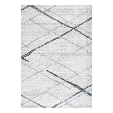 Contemporary Striped Polypropylene Rug, Gray, 12'x15'