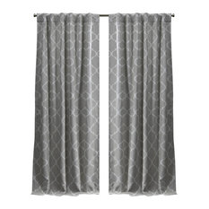 "Treillage Woven Blackout Top Curtain Panels, Set of 2, Dove Grey, 52""x84"""