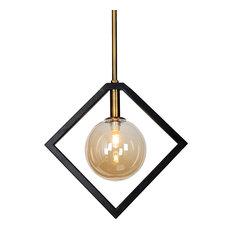 1 Light Pendant, Matte Black & Vintage Bronze, Champagne Glass