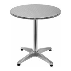 Round Bistro Bar Table in Aluminium with Adjustable Height, Contemporary Design