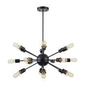 Sputnik Style Chandelier, Black Dining Room Kitchen Chandelier Light