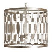 Riviera Hollywood Regency Silver Leaf 3 Light Chandelier