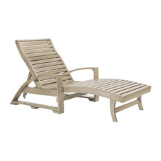 St. Tropez Chaise Lounge With Wheels, Beige