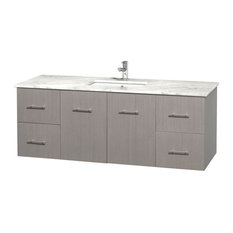 "Centra 60"" Gray Oak Single Vanity, Countertop, Undermount Square Sink, No Mirror"