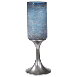 MY SWANKY HOME Classic Small 8 Inch Tall Glass Hurricane Rustic Pillar Candle Holder Textured