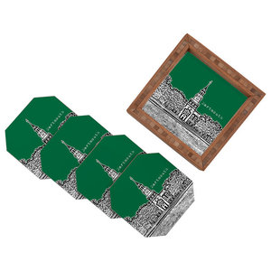 Deny Designs Bird Ave Dartmouth College Green 4 Coasters