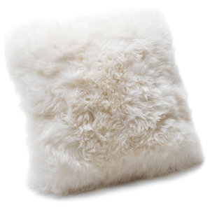 Small New Zealand Sheepskin Cushion, Natural White