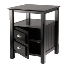 Winsome Wood Transitional Black Composite Wood Night Stand