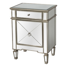 Worlds Away Claudette Mirror Nightstand Silver Nightstands And Bedside Tables