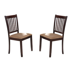 Fairhope Dining Chairs, Cappuccino Wood & Light Brown Microfiber Seats, Set Of 2