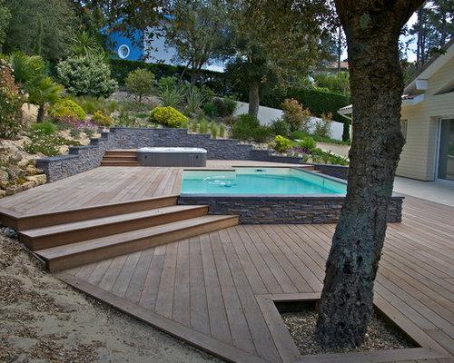Terrasse en bois exotique cumaru avec piscine et jacuzzi for Terrasse piscine bois