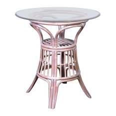 """Universal 42"""" Round Tempered Bevel Edge Glass Counter Table, Rustic Driftwood"""