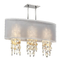 """33 """"W Oval Shaded Oyster  Shell and Crystal Chandelier   Soho 626S, White"""