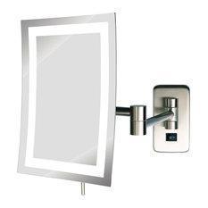 Modern Wall Mounted Rectangular Make-Up Mirror, Nickel