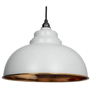 From The Anvil Harborne Pendant, Light Grey Hammered Copper
