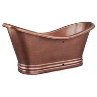 Euclid 6' Handmade Copper Freestanding Bathtub With Overflow