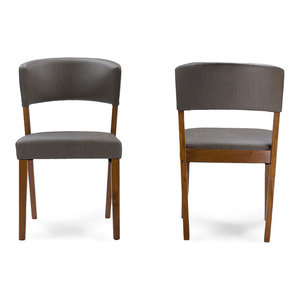 Montreal Mid-Century Dark Walnut Wood Gray Faux Leather Dining Chairs, Set of 2