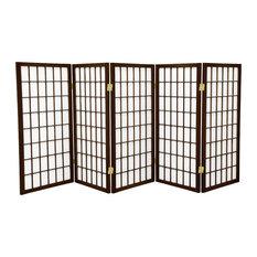 3' Tall Window Pane Shoji Screen, Walnut, 5 Panels