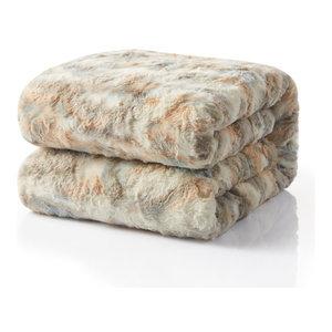 """Tache Super Soft Brown Russian Lynx Faux Fur Throw Blanket, 63""""x87"""""""