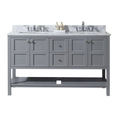 Winterfell Double Bathroom Vanity Cabinet Set, Gray, 60""