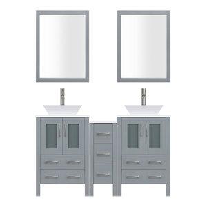 "84"" Modern Bathroom Vanity Set, Mirror and Sink LV2-C15-84-G, Gray"