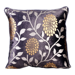 Printed Velvet 35x35 Velvet Purple Decorative Cushion Cover, Vineyard Dahlias