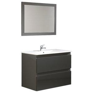 Metropolis Bathroom Vanity Unit, Grey, 80 cm