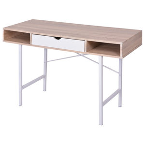VidaXL Desk With 1 Drawer, Oak and White
