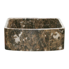 "30"" Curved Front Farmhouse Kitchen Sink, Emperador Dark Marble"