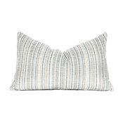 """Striped Lumbar Pillow Cover, Ocean Velvet, Blue, 12'x20"""""""