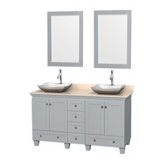 "Wyndham Collection - Acclaim 60"" Double Vanity, Oyster Gray, Ivory Marble Top, Avalon Carrera Sinks - Bathroom Vanities and Sink Consoles"