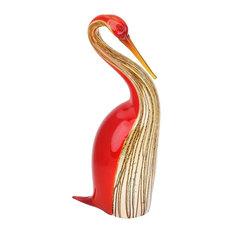 Murano Art Glass Heron Bird, Red