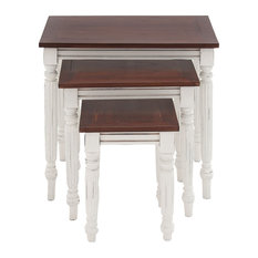 Benzara, Woodland Imprts, The Urban Port   Nested Console Tables Wood White  Pillar Legs