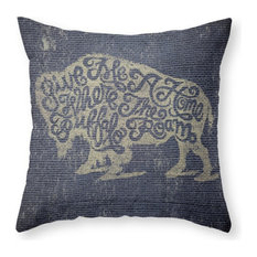"Give Me a Home Where Buffalo Roam Pillow Cover, 20""x20"" With Pillow Insert"