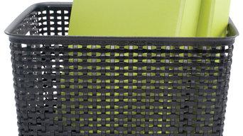 Plastic Weave Bin, Large, Black (2-Pack)