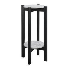 Plant Stand in Faux Cement and Black Finish