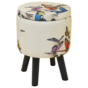 Butterfly Contemporary Round Padded Stool, Cream/Multi