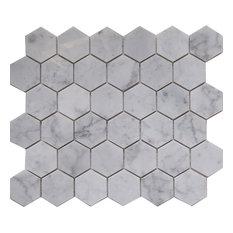 "12""x10""Carrara White Marble Mosaic Tile, Hexagon, Honed, Set of 50"