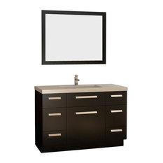 """48"""" Single Bath Vanity With Quartz Top, Espresso (Very Dark Brown)"""